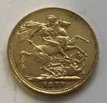 1 соверен 1879 год Англия золото 7,99 грамм 917', фото №3