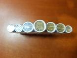 Набір обігових та розмінних монет України 1, 2, 5, 10, 25, 50 коп та 1 грн у роликах набор фото 3