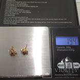 Золотые серьги-гвоздики с сапфирами и бриллиантами, фото №4