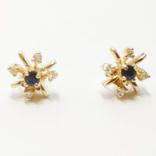 Золотые серьги-гвоздики с сапфирами и бриллиантами, фото №7