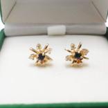 Золотые серьги-гвоздики с сапфирами и бриллиантами, фото №8