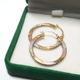 Золотые трех-цветные серьги-кольца, фото №2