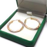 Золотые трех-цветные серьги-кольца, фото №3