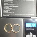 Золотые трех-цветные серьги-кольца, фото №5