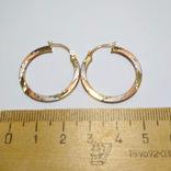 Золотые трех-цветные серьги-кольца, фото №6