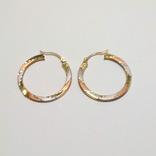 Золотые трех-цветные серьги-кольца, фото №7