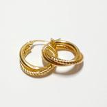 Золотые серьги-колечки, фото №3