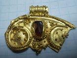 Лунница чк золото с камнем, фото №2