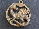 Дракон Грифон коллекционная миниатюра брелок кулон бронза, фото №2