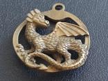 Дракон Грифон коллекционная миниатюра брелок кулон бронза, фото №4