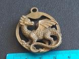 Дракон Грифон коллекционная миниатюра брелок кулон бронза, фото №9
