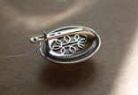 Серебряные серьги с янтарем и золотом, фото №6