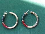 Серебряные серьги-кольца с эмалями, фото №3