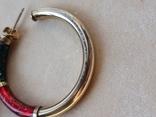 Серебряные серьги-кольца с эмалями, фото №5