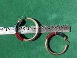 Серебряные серьги-кольца с эмалями, фото №9