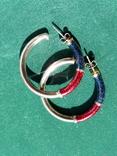 Серебряные серьги-кольца с эмалями, фото №11