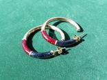 Серебряные серьги-кольца с эмалями, фото №2