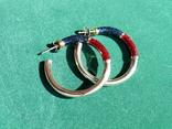 Серебряные серьги-кольца с эмалями, фото №12