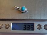 Подвес бирюза. Серебро 925 проба. Вес 3.33 г., фото №7