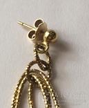 Золотые серьги-подвески 585 пробы, фото №7