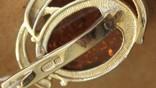 Серебряные серьги с янтарем и золотом, фото №3