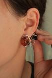 Серебряные серьги с янтарем и золотом, фото №4