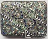 Портсигар серебряный, 84 пробы, многоцветные Эмали., фото №2