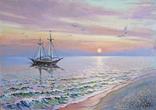 """""""Ранок на Чорному морі"""". Ірена Алісова, картон, олія, 35 х 50 см., фото №3"""