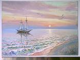"""""""Ранок на Чорному морі"""". Ірена Алісова, картон, олія, 35 х 50 см., фото №4"""