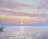"""""""Ранок на Чорному морі"""". Ірена Алісова, картон, олія, 35 х 50 см., фото №6"""