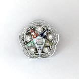 Золотое кольцо с бриллиантами и эмалью, фото №2