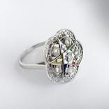 Золотое кольцо с бриллиантами и эмалью, фото №3