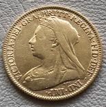 1/2 соверена 1894 год Англия золото 3,93 грамм 917', фото №2