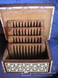 Сигаретница из дерева инкрустированная костью и перламутром, фото №3