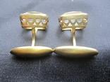 Запонки Серебро 875 звезда Позолота, фото №2