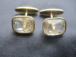 Запонки Серебро 875 звезда Позолота, фото №3