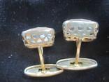 Запонки Серебро 875 звезда Позолота, фото №5