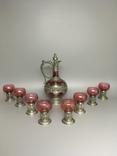 Столовый сервиз графин рюмки стаканы фужеры металл стекло, фото №3