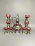 Столовый сервиз графин рюмки стаканы фужеры металл стекло, фото №12
