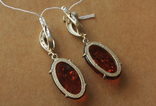 Серебряные серьги с янтарем и золотом, фото №9
