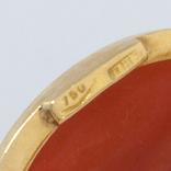 Золотые серьги с натуральным кораллом, фото №5