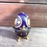 Шкатулка в виде яйца. Кобальт. Винтаж. Европа.