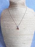 Серебрчный кулон с янтарем, на цепочке, фото №3