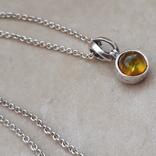 Серебрчный кулон с янтарем, на цепочке, фото №2