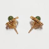 Золотые серьги-гвоздики с натуральным нефритом, фото №3