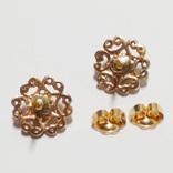 Золотые серьги-гвоздики с натуральным нефритом, фото №4