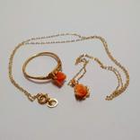 Золотой кулон и кольцо с натуральным розовым кораллом, фото №2