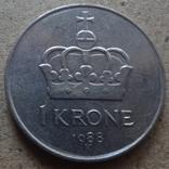 1 крона  1988  Норвегия  (К.33.3)~, фото №2