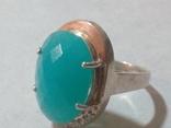 Кольцо и серьги серебро 925 с золотой вставкой и большим камнем, фото №5