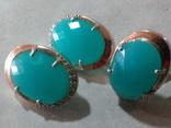 Кольцо и серьги серебро 925 с золотой вставкой и большим камнем, фото №8